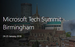 Banner for Microsoft Tech Summit Birmingham January 2018